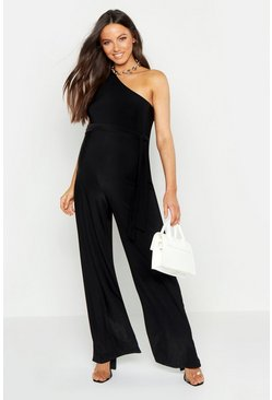 Womens Black Maternity One Shoulder Slinky Jumpsuit