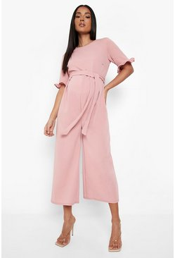 Womens Rose Maternity Tie Waist Ruffle Culotte Jumpsuit
