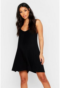 Womens Black Maternity Strappy Swing Playsuit