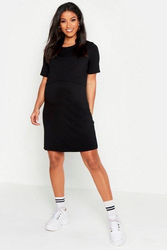 Womens Black Maternity Nursing T-Shirt Dress