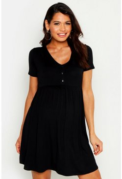 Womens Black Maternity Short Sleeved Button Front Smock