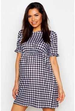 Womens Black Maternity Gingham Smock Dress