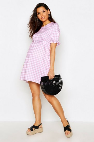 Womens Pale pink Maternity Gingham Smock Dress