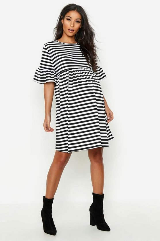 Black Maternity Striped Smock Dress