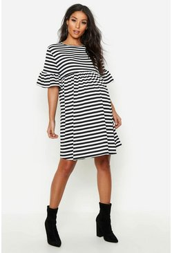 Womens Black Maternity Striped Smock Dress