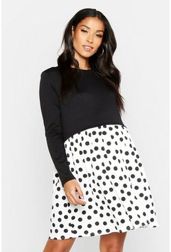 Womens Black Maternity Polka Dot Smock Sweat Dress