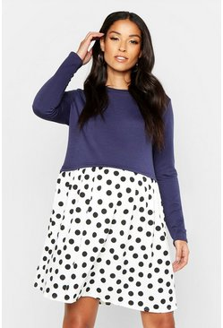 Womens Navy Maternity Polka Dot Smock Sweat Dress
