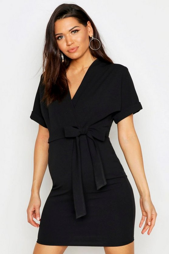 Womens Black Maternity Wrap Over Belted Dress