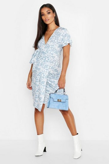 Womens Blue Maternity Floral Wrap Dress
