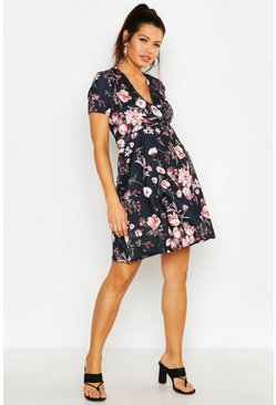 Womens Black Maternity Floral Wrap Dress