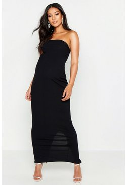Black Maternity Jumbo Rib Bandeau Maxi Dress