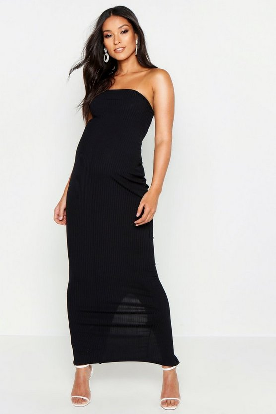 Womens Black Maternity Jumbo Rib Bandeau Maxi Dress