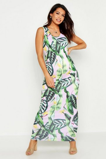 Womens Green Maternity Print Maxi Dress