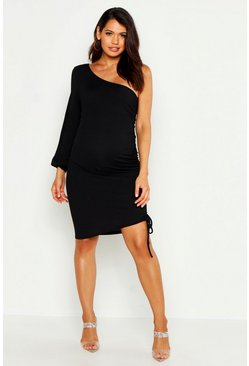 Womens Black Maternity One Shoulder Gathered Side Midi Dress