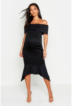 Black Maternity Bardot Peplum Hem Midi Dress