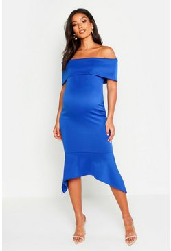 Womens Bright blue Maternity Bardot Peplum Hem Midi Dress