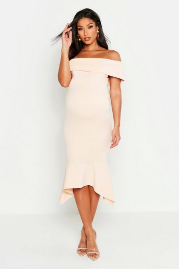 Womens Nude Maternity Bardot Peplum Hem Midi Dress