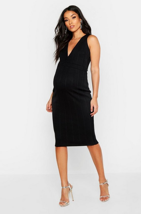 Womens Black Maternity Plunge Front Bandage Bodycon Dress