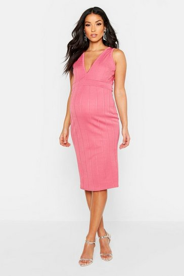 Womens Rose Maternity Plunge Front Bandage Bodycon Dress
