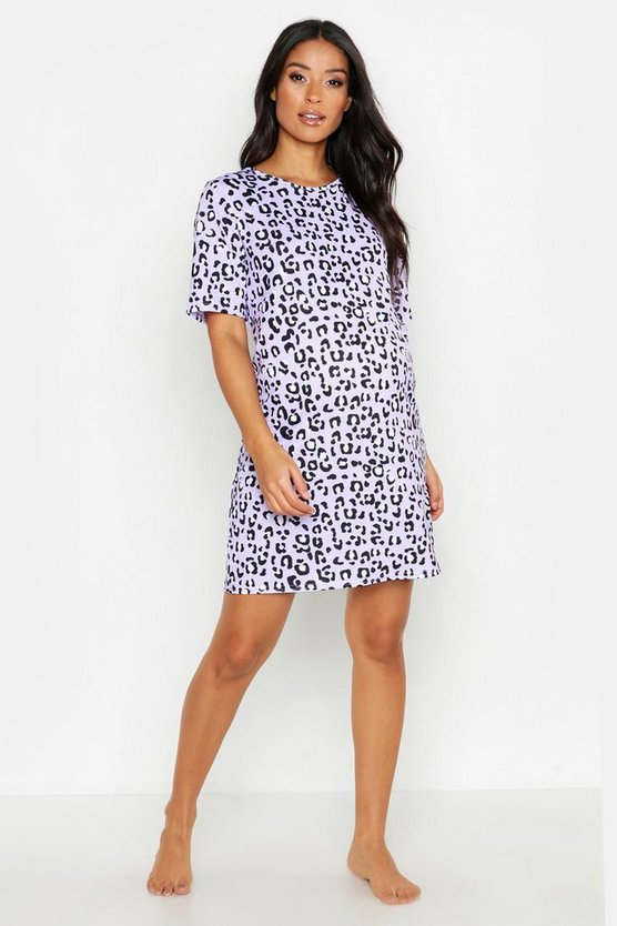 Lilac Maternity All Over Leopard Nightie