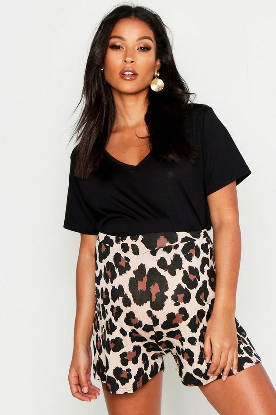 Brown Maternity Over The Bump Leopard Flippy Shorts