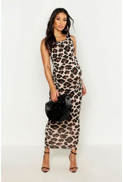 Womens Brown Maternity Leopard Print Basic Maxi Dress