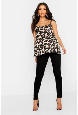 Womens Brown Maternity Leopard Print Basic Cami