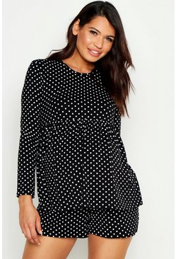 Womens Black Maternity Polka Dot Smock Short PJ Set