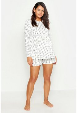 Womens White Maternity Polka Dot Smock Short PJ Set