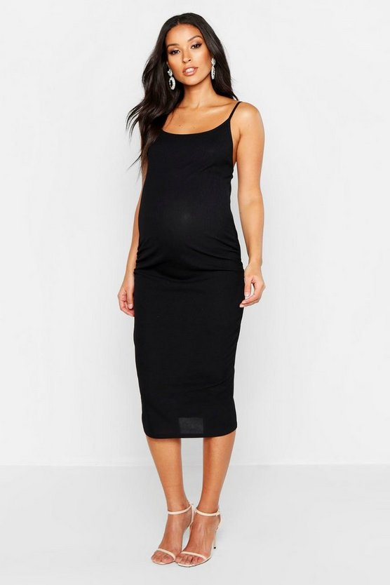 Womens Black Maternity Strappy Rib Bodycon Midi Dress