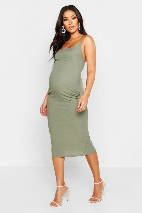 Womens Khaki Maternity Strappy Rib Bodycon Midi Dress