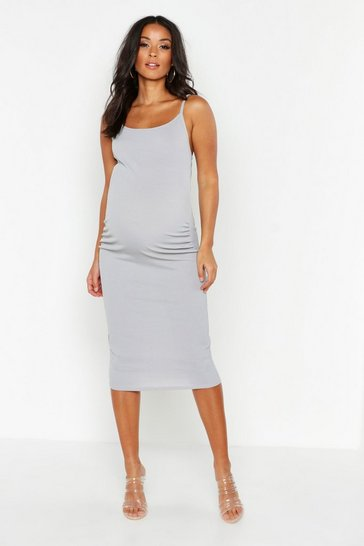 Light grey Maternity Strappy Rib Bodycon Midi Dress