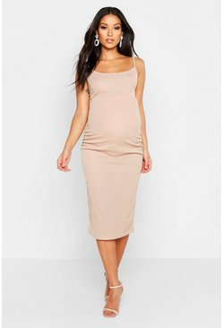 Stone Maternity Strappy Rib Bodycon Midi Dress
