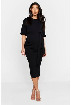 Womens Black Maternity Ruffle Midi Bodycon Dress