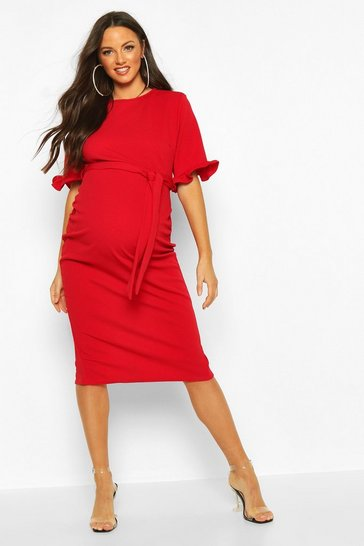 Womens Red Maternity Ruffle Midi Bodycon Dress