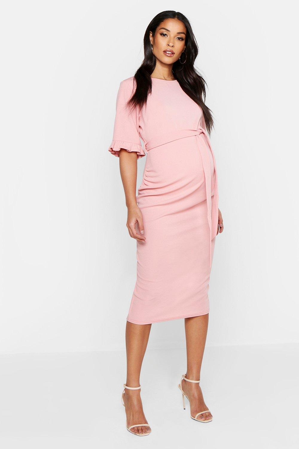 Vintage Maternity Clothes History Womens Maternity Ruffle Midi Bodycon Dress - pink - 12 $11.20 AT vintagedancer.com