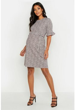 Apricot Maternity Animal Print Ruffle Smock Dress
