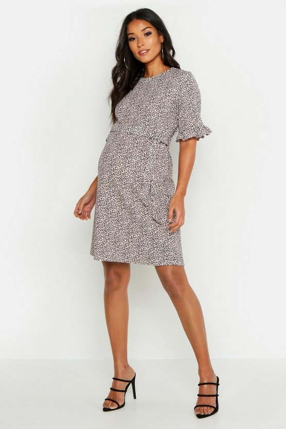 Maternity Animal Print Ruffle Smock Dress