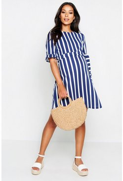 Womens Navy Maternity Stripe Ruffle Smock Dress