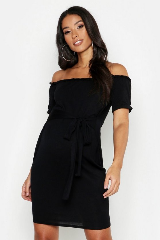 Black Maternity Bardot Tie Waist Bodycon Dress
