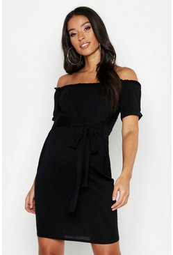 Womens Black Maternity Bardot Tie Waist Bodycon Dress