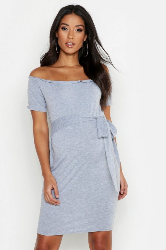 Womens Light grey Maternity Bardot Tie Waist Bodycon Dress