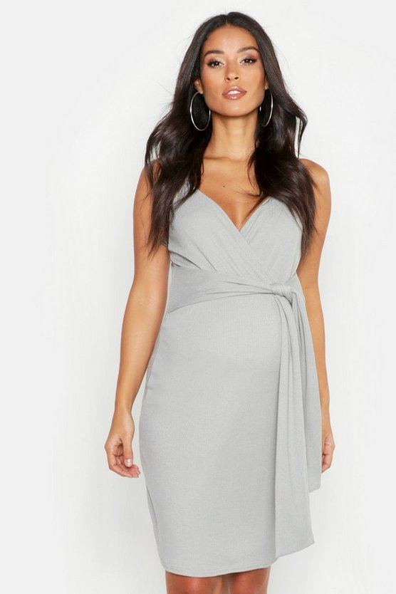 Womens Grey Maternity Strappy Tie Front Bodycon Dress