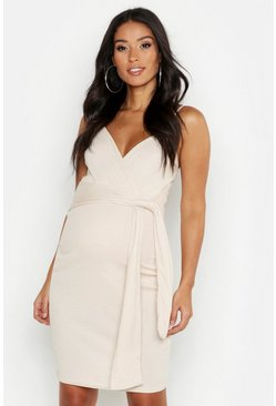 Stone Maternity Strappy Tie Front Bodycon Dress