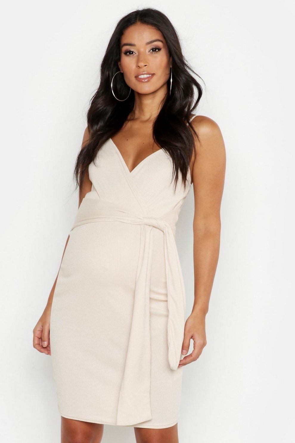 efc28e8e52 Maternity Strappy Tie Front Bodycon Dress | Boohoo