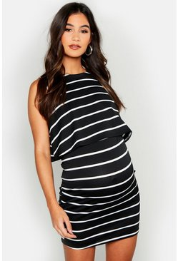 Womens Black Maternity Nursing Sleeveless Stripe Dress