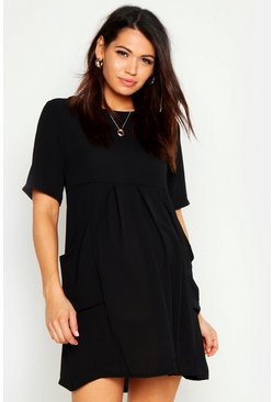 Womens Black Maternity Woven Pocket Detail Smock Dress
