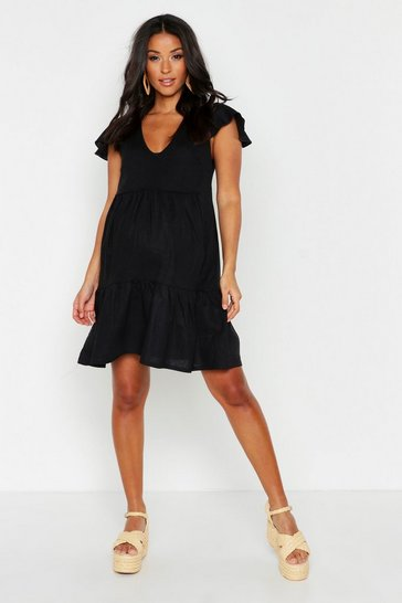 Womens Black Maternity Linen Frill Sleeve Smock Dress