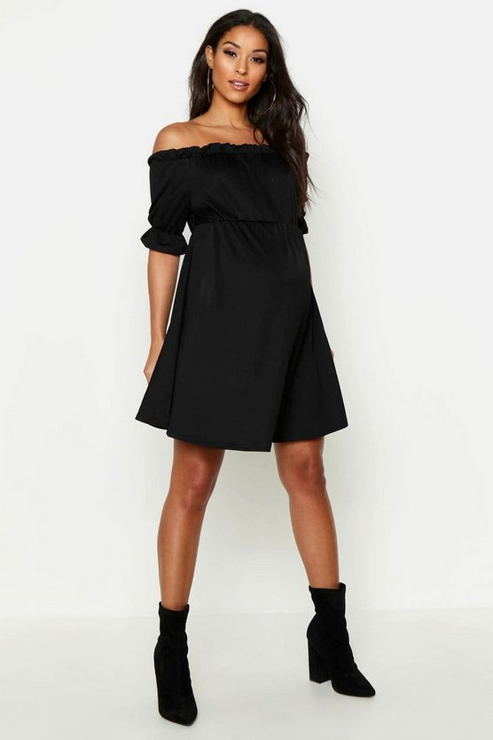 Maternity Bardot Ruffle Smock Dress