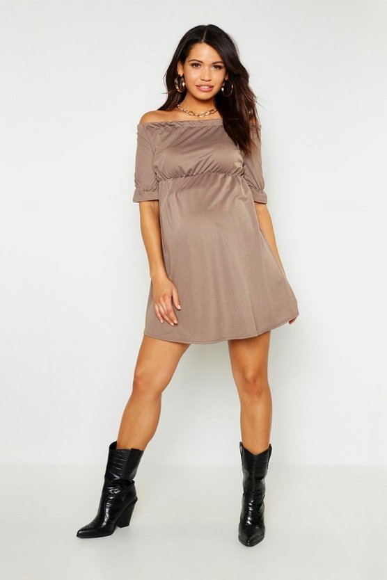 Womens Mocha Maternity Bardot Ruffle Smock Dress